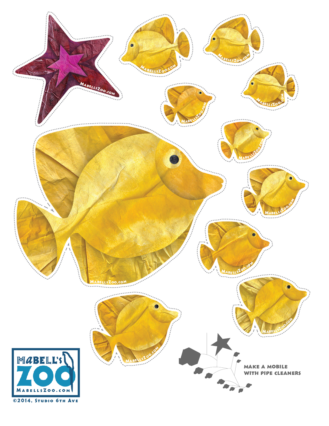 Mabell's Zoo Cutouts: Ten Fish