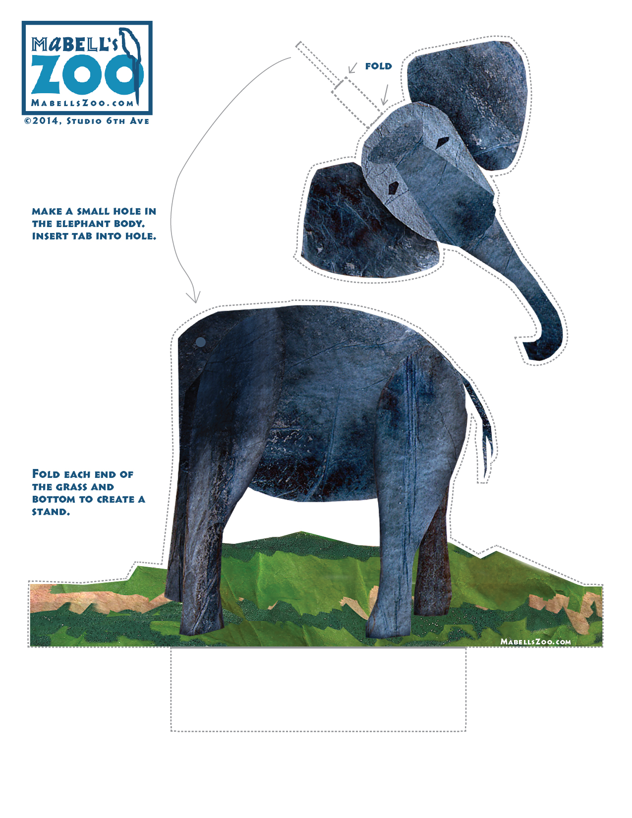 Mabell's Zoo Cutouts: One Elephant