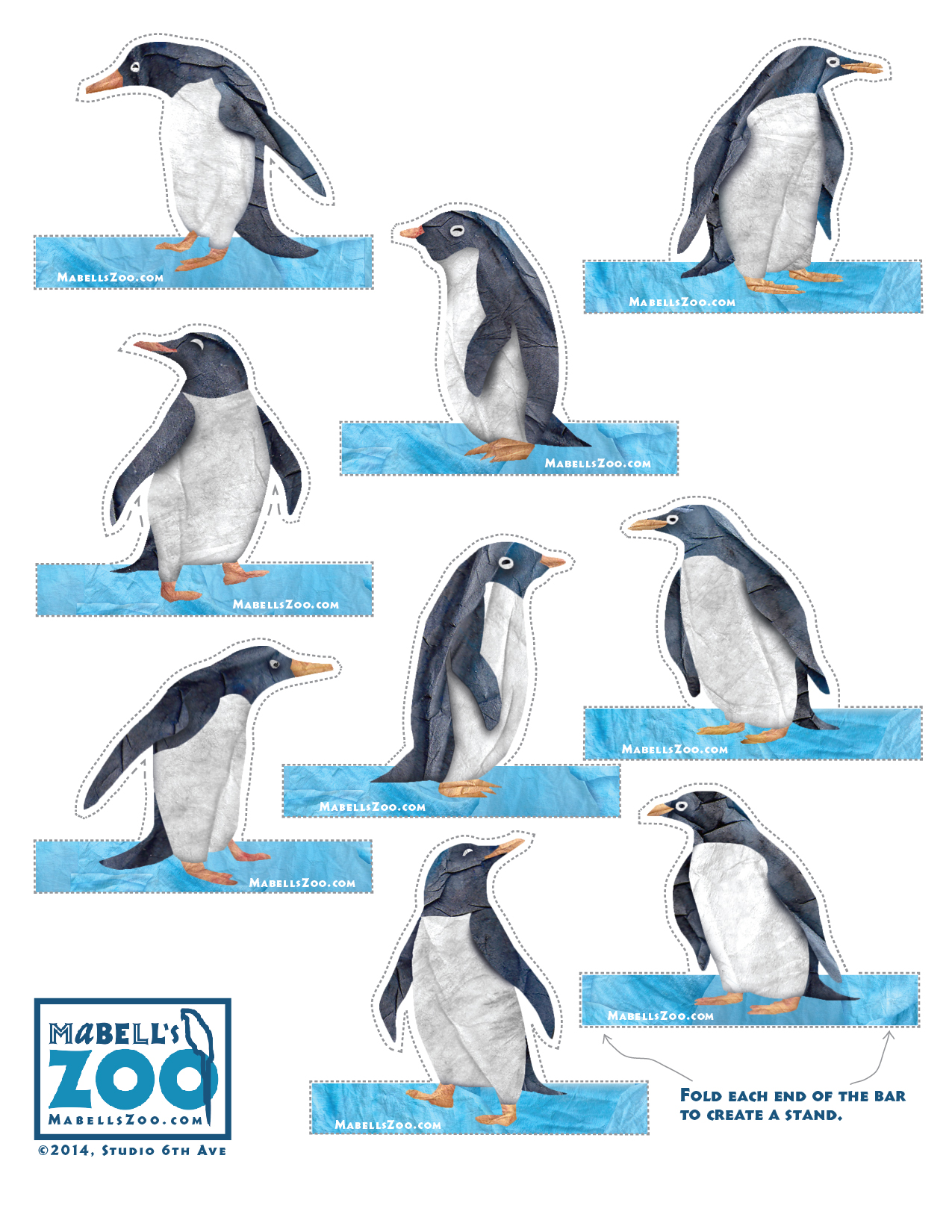 Mabell's Zoo Cutouts: Nine Penguins